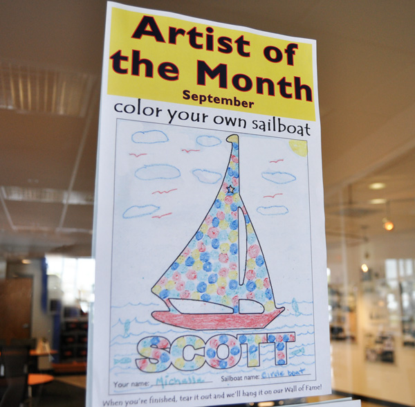 September's Artist of the Month is Michelle, with her sailboat named Circle boat