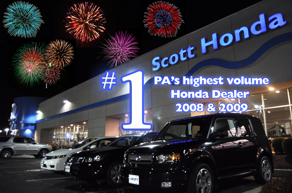 Scott Honda finishes 2009 as the #1 Honda dealer in PA!