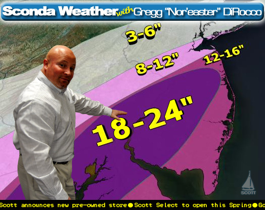 "Gregg ""Nor'easter"" DiRocco says look out Delaware Valley, we've got 18""-24"" headed our way"
