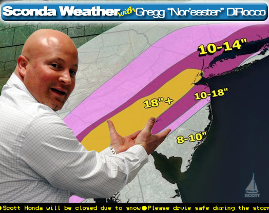 "Gregg ""Nor'easter"" DiRocco says, ""Chester County is right in the middle of the bulls-eye for the heaviest snow."""